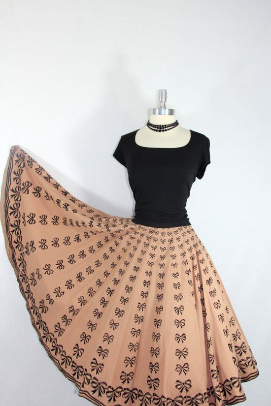 1950s Circle Skirt  Vintage Mocha Cotton by VintageFrocksOfFancy, $140.00