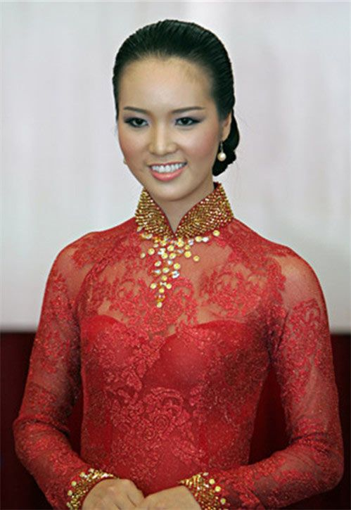 Red lace hint of gold ao dai - AO DAI - DCR151 from Lien Hoang $130 US.