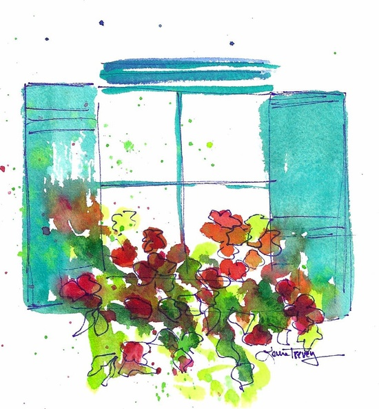 Window Box: Window Box original watercolor painting