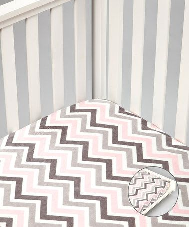 Take a look at this Baby Pink Zigzag Minky Crib Sheet & Changing Pad Cover by Lolly Gags on #zulily today!