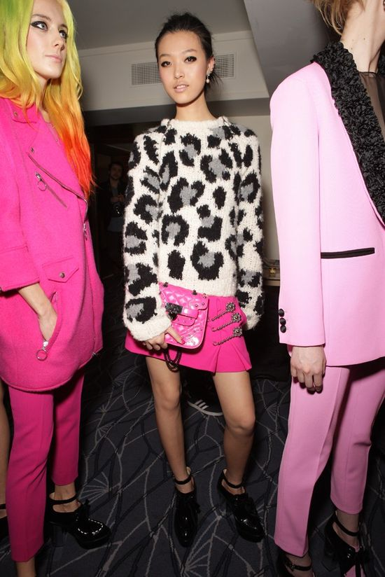 Backstage at Moschino Cheap & Chic Fall RTW 2013