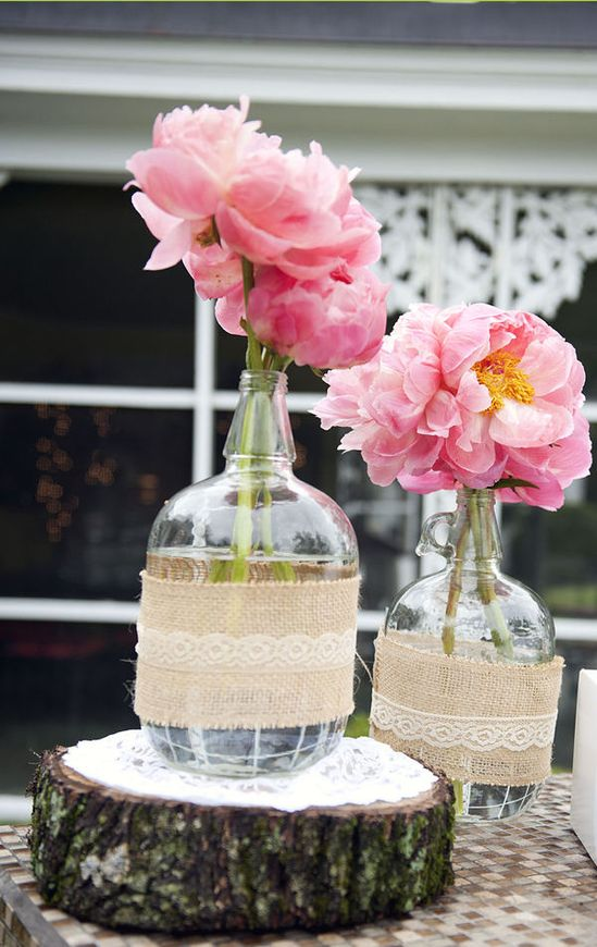 peonies & slabs of wood for table