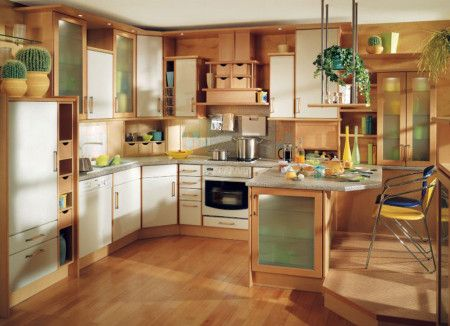 Cream Modern Small Kitchen Interior Design Ideas - Kitchen