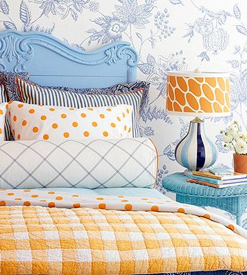 I love all the patterns and the colors! #bedroom #headboard #blue #orange