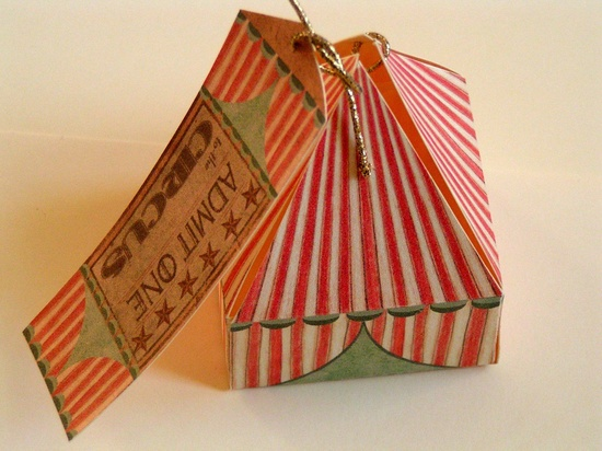 2 Circus tent gift boxes with tags