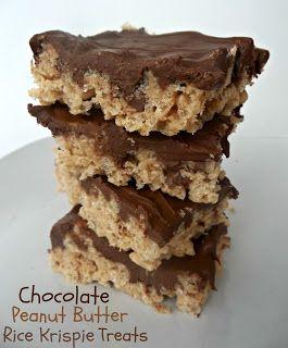 Easy Peanut Butter Rice Krispie Treats from sixsistersstuff.com #dessert #peanutbutter #recipe #chocolate #dessertbars