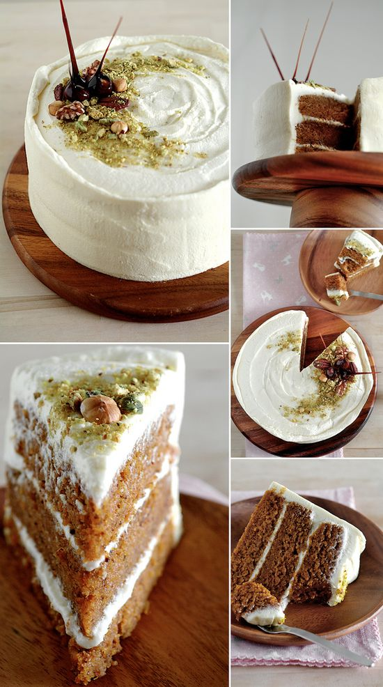 C - Carrot cake with maple cream cheese frosting #recipe #dessert