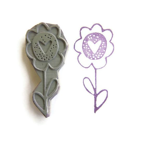Hearty Sun Flower Love Stamp - Rubber Stamp - Cling Rubber Stamp via Etsy