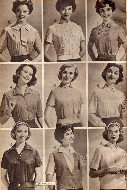 Nine timelessly lovely blouses and tops from the pages of a 1958 Montgomery Ward catalog. #vintage #1950s #fashion #shirts