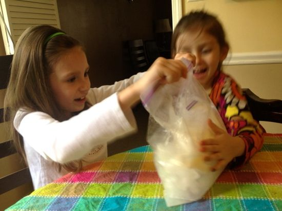 Host an ice cream party -- the kids can make their own ice cream in a zip top bag! Quick, easy, and super FUN!! #party #kids #parenting
