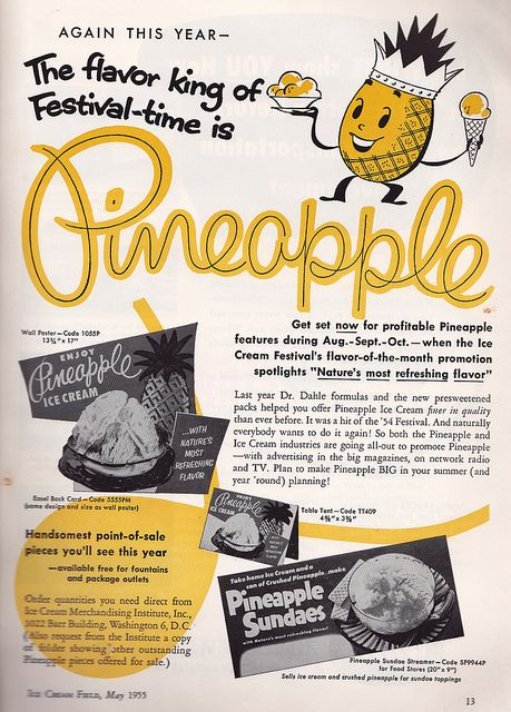 This charmingly illustrated ad celebrates one of the most beloved fruit flavours of the mid-twentieth century. #pineapple #fruit #food #ice #cream #vintage #retro #nostalgia #1950s #fifties