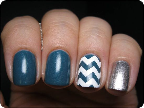 teal white and silver chevron nails