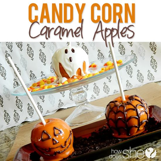 Candy corn caramel apples! So cute and so good!! HowDoesShe.com