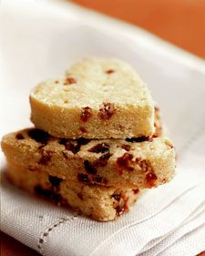 Dried Cranberry Shortbread Hearts    This simple shortbread recipe is patted firmly into a baking pan