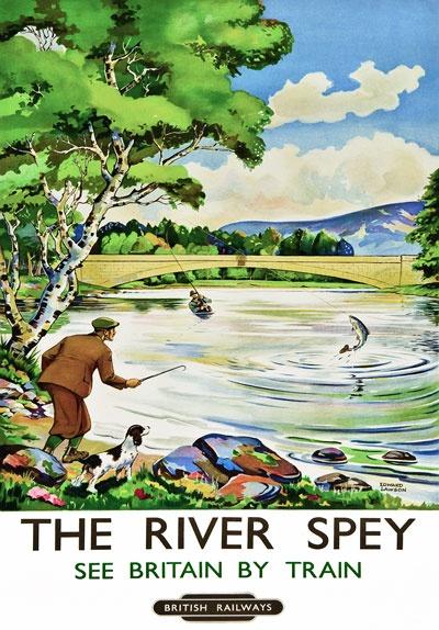 Vintage River Spey Scotland Railway Travel Poster