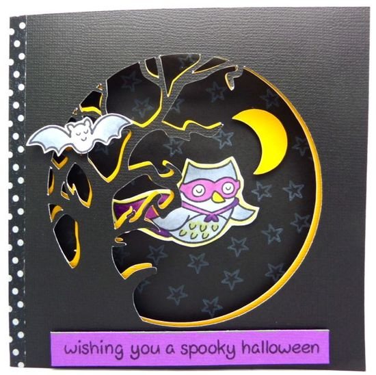 Lawn Fawn - Critters in Costume, Trick or Treat _ Spooky Halloween card by Annette