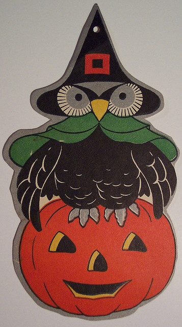 Vintage Halloween Cut Out, Owl on Jack-O-Lantern by riptheskull, via Flickr