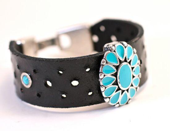 Turquoise Leather Bracelet Amy Fine Design by amyfine on Etsy