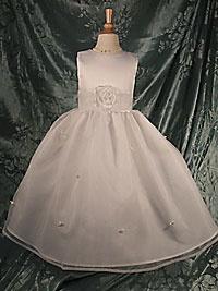 Flower Girl Dress 5166- White or Ivory Sleeveless Satin Bodice With All White Scattered Rosettes On