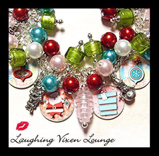 Christmas Jewelry - Christmas Bracelet - Retro Christmas Charm Bracelet - Holiday Jewelry - Holiday Bracelet. $45.00, via Etsy.