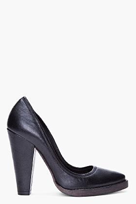 BALMAIN Black Leather Anna Pumps