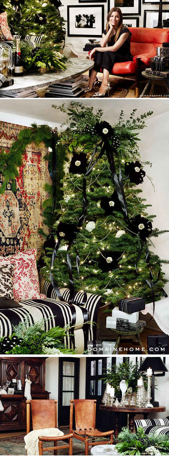 Holiday decorating, Jessica Biel style.