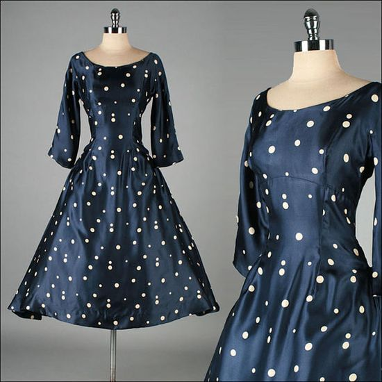 Vintage 1950s Dress . MOLLIE PARNIS . Blue Satin . Polka Dots . Full Skirt . M . 2861