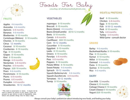 When to give different foods to baby