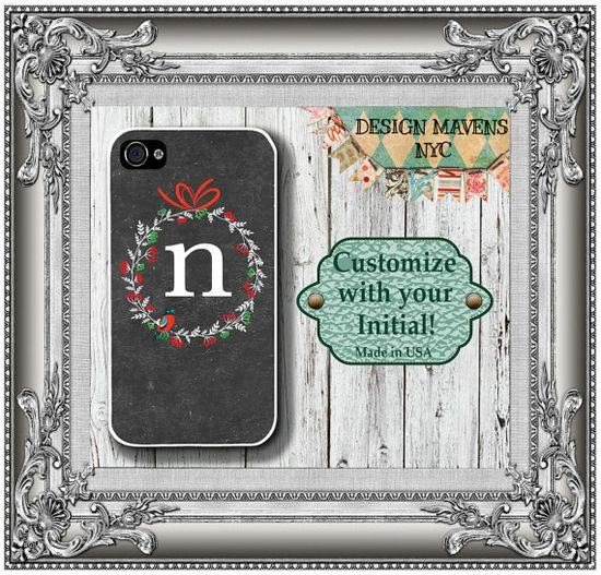 Personalized iPhone Case, Holiday Wreath Monogram iPhone Case, Fits iPhone 4, iPhone 4s, iPhone 5, iPhone 5s, Phone Cover, Phone Case on Etsy, $17.99