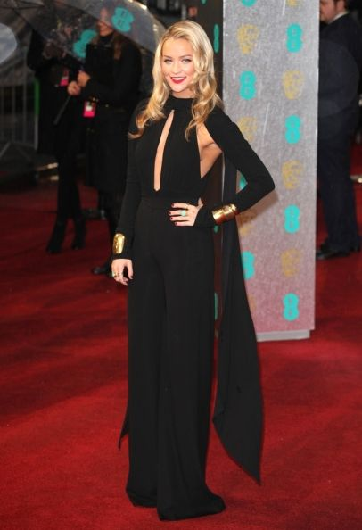 Laura Whitmore arriving for the 2013 British Academy Film Awards, at the Royal Opera House, London. #fashion #style #celebrity #dress #looks #redcarpet