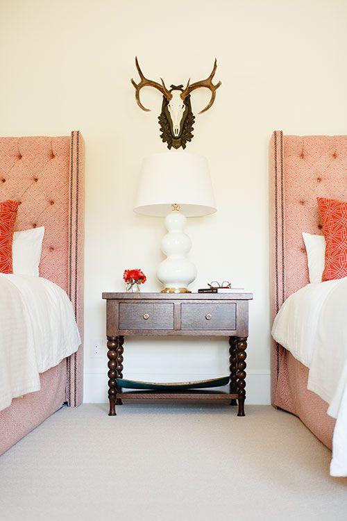 Varied Pinks Coral and Brown Bedroom