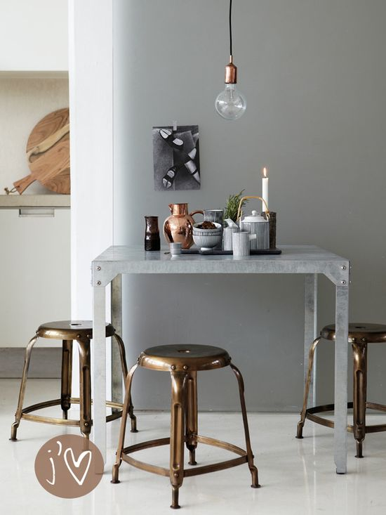 Wood, Copper, brass, greys and a whole dose of yumminess.