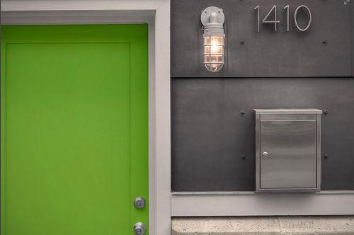 Lime green front door