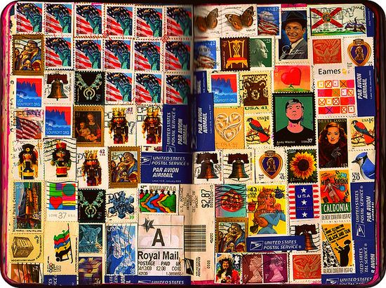 stamps from incoming mail as journal pages