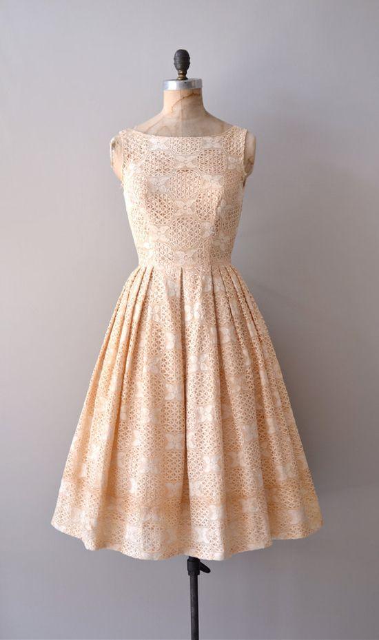 1950s crochet lace dress