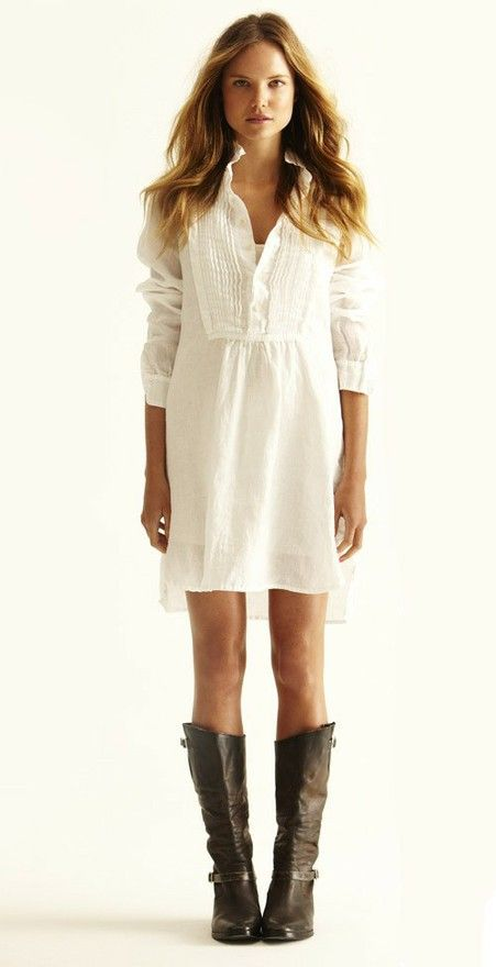 In summer, boots go with...a crisp, white dress.
