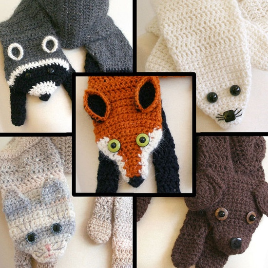 crochet animal scarfs i would make it so i could have a hot pack in it