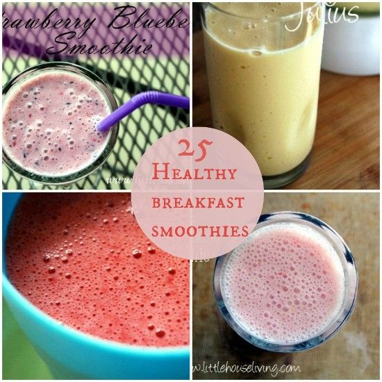 25 Healthy Breakfast Smoothies - Lots of great ideas when you are uninspired about breakfast! #smoothies #breakfast