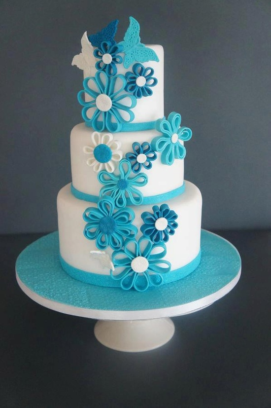 Indian Weddings Inspirations. Blue Wedding Cake. Repinned by #indianweddingsmag indianweddingsmag...