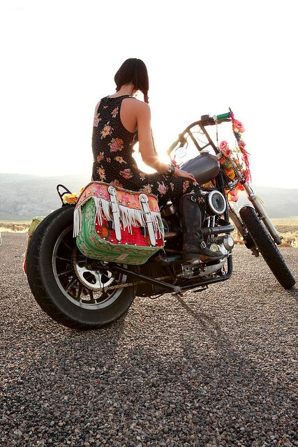 Girl and her motorcycle