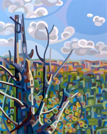 contemporary abstract landscape painting forest snag valley fall day sky blue canada ontario