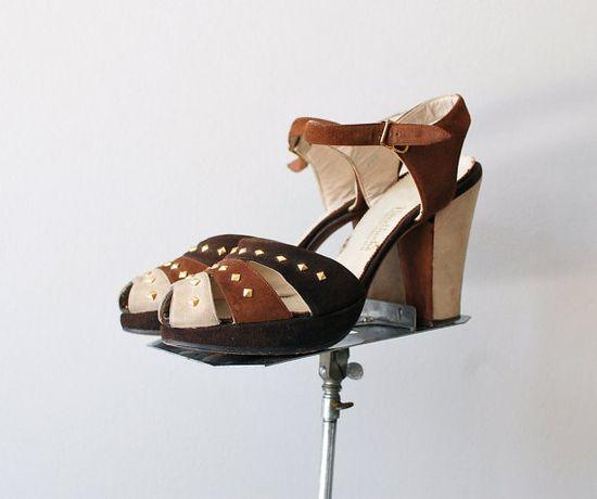 1940s studded platform shoes