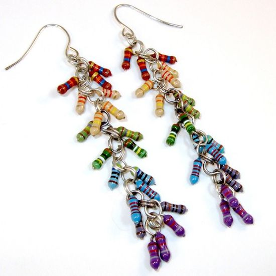 Rainbow Computer Jewelry -- Electronic Resistor Long Spiral Cluster Earrings