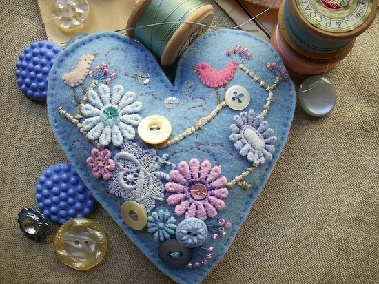 embellished heart with sweet bird details