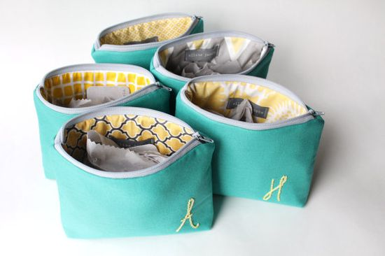 Personalized Bridesmaid Gift, Monogram Cosmetic Bag Set of 5, Turquoise and Yellow, Make Up Bag, Bridesmaid Clutch, Coral Pink Aqua Gray