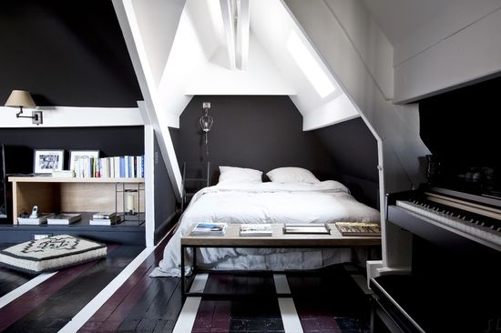 black & white attic bedroom