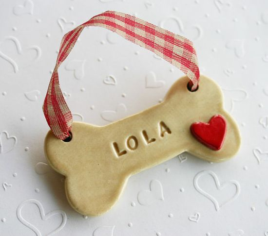 Handmade christmas ornaments with your dog's name...Harold is getting one!