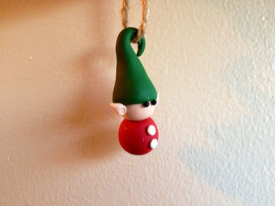 Christmas Elf Ornament  polymer clay  by ClayFriendsEtc on Etsy, $10.00
