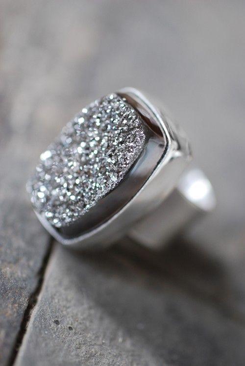 ring, quartz drusy ~ dollybirddesign
