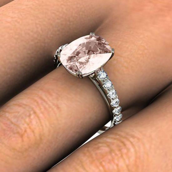Cushion Morganite Engagement Ring Diamond Morganite by RareEarth